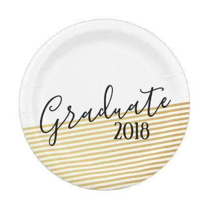sc 1 st  Pinterest & Modern Gold u0026 Black Graduation Paper Plates