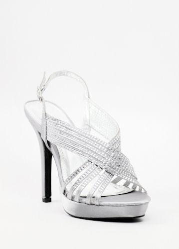 4d0c6e158fe9da These silver shoes has everything you ve been looking for. These silver  high heel shoes have sparkling rhinestones on all over the straps and even  the heel!
