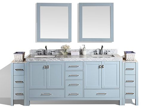 84 Malibu Gray Double Modern Bathroom Vanity With 2 Side Cabinets And White Marble Top With Und Modern Bathroom Vanity Bathroom Vanity Designs Bathroom Vanity