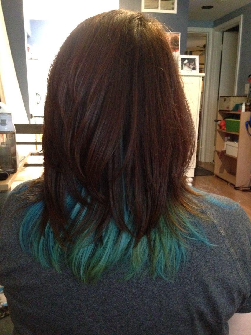 Blue Green Mermaid Hair Peekaboo Style Under Brown Auburn Layers Mermaid Hair Peekaboo Hair Hidden Hair Color