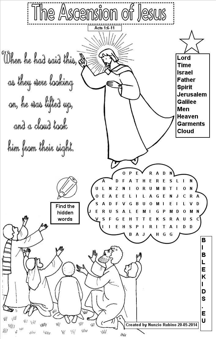 Word Search For Ascension Of Jesus Google Search New Testament Jesus Ascension Coloring Page