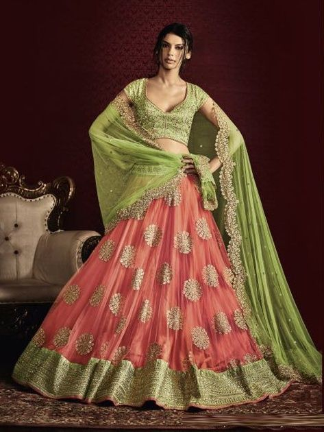 7779fdea91b09 Price  8939.00 INR Colour   Light Green   Peach Top Material   Raw Silk  Lehenga Material   Net With Inner Dupatta Material   Net Work   Heavy  Embroidery ...