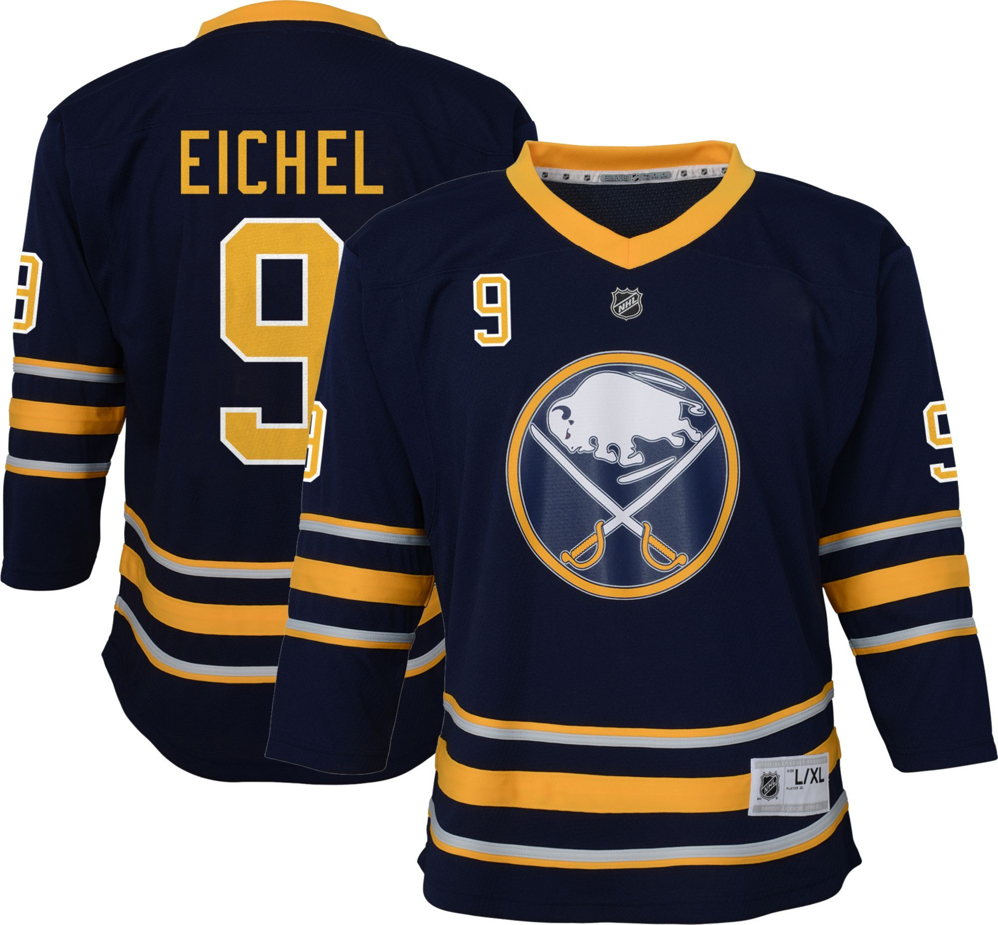 2774d5425 NHL Youth Buffalo Sabres Jack Eichel #9 Replica Home Jersey, Team