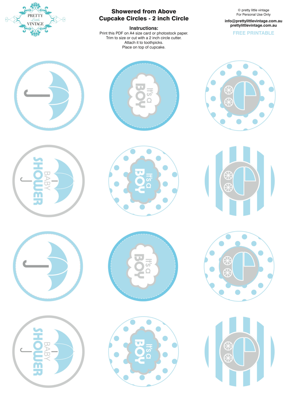 Printable Baby Shower Cupcake Toppers