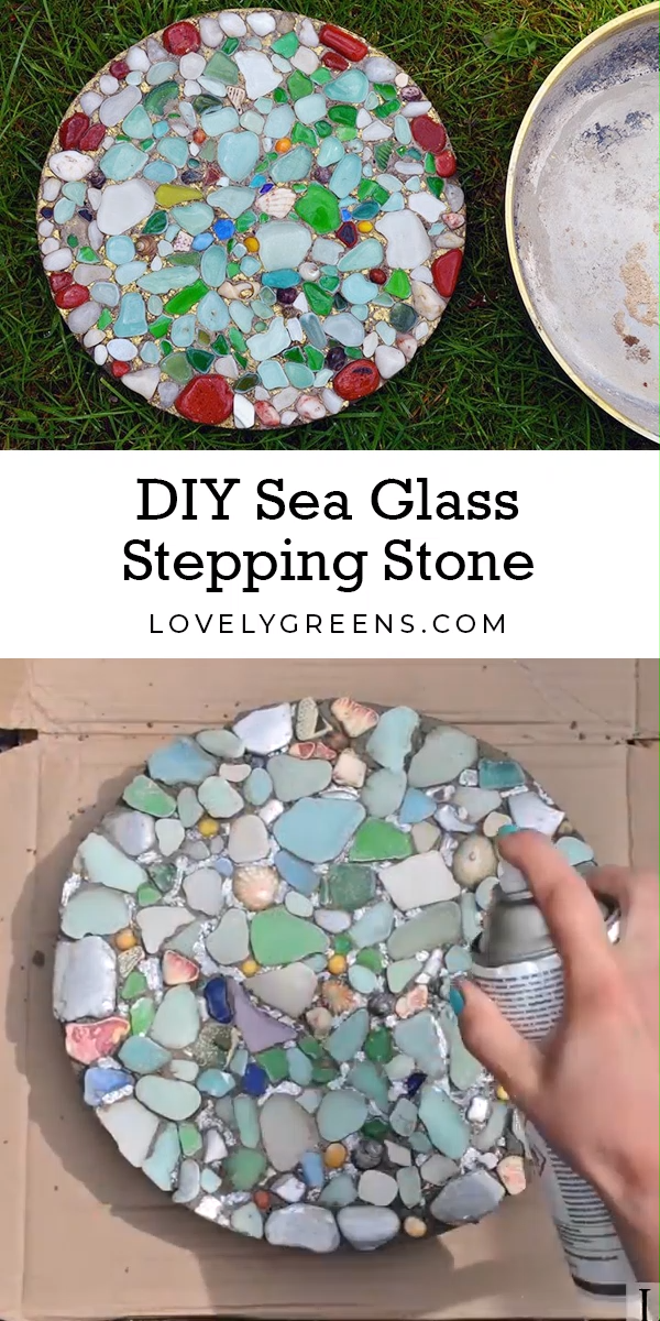 Learn how to make garden stepping stones using colorful sea glass. This project requires only a few inexpensive materials including glass pieces. Full video included #lovelygreens #diygarden #seaglass