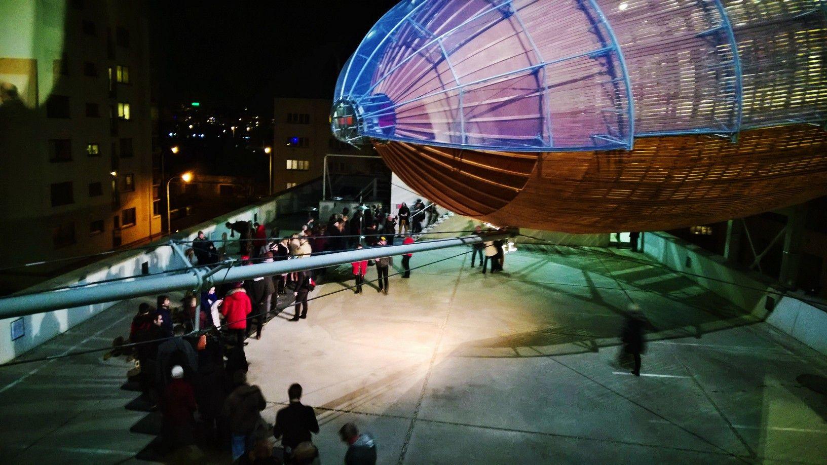 Zeppelin - DOX Center of contemporary art in Prague, Czech - this is the zeppelin called Gulliver by architects HAMR - Hut architektury Martin Rajnis ( Martin Rajnis, David Kubik, Leos Valka, Zbynek Srutek)