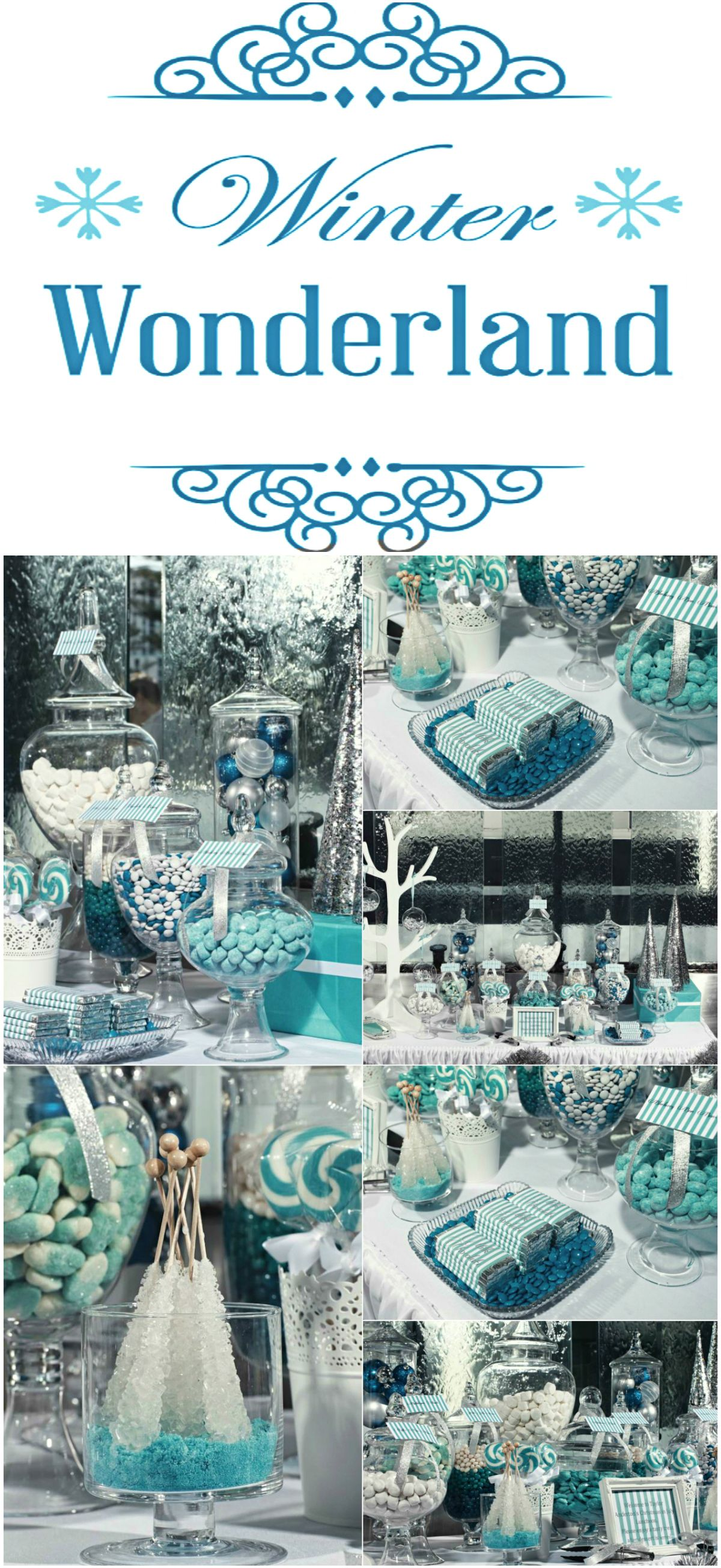 7fd25e7cb6b5 Winter Wonderland Candy Table. This blue color palette goes perfect  together with silver