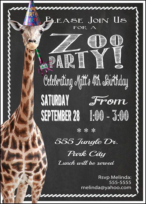 Zoo Party Birthday Invitation Print At Home By MelindaBryantPhoto 1065 Giraffe Wild Animal Chalkboard Style Printable