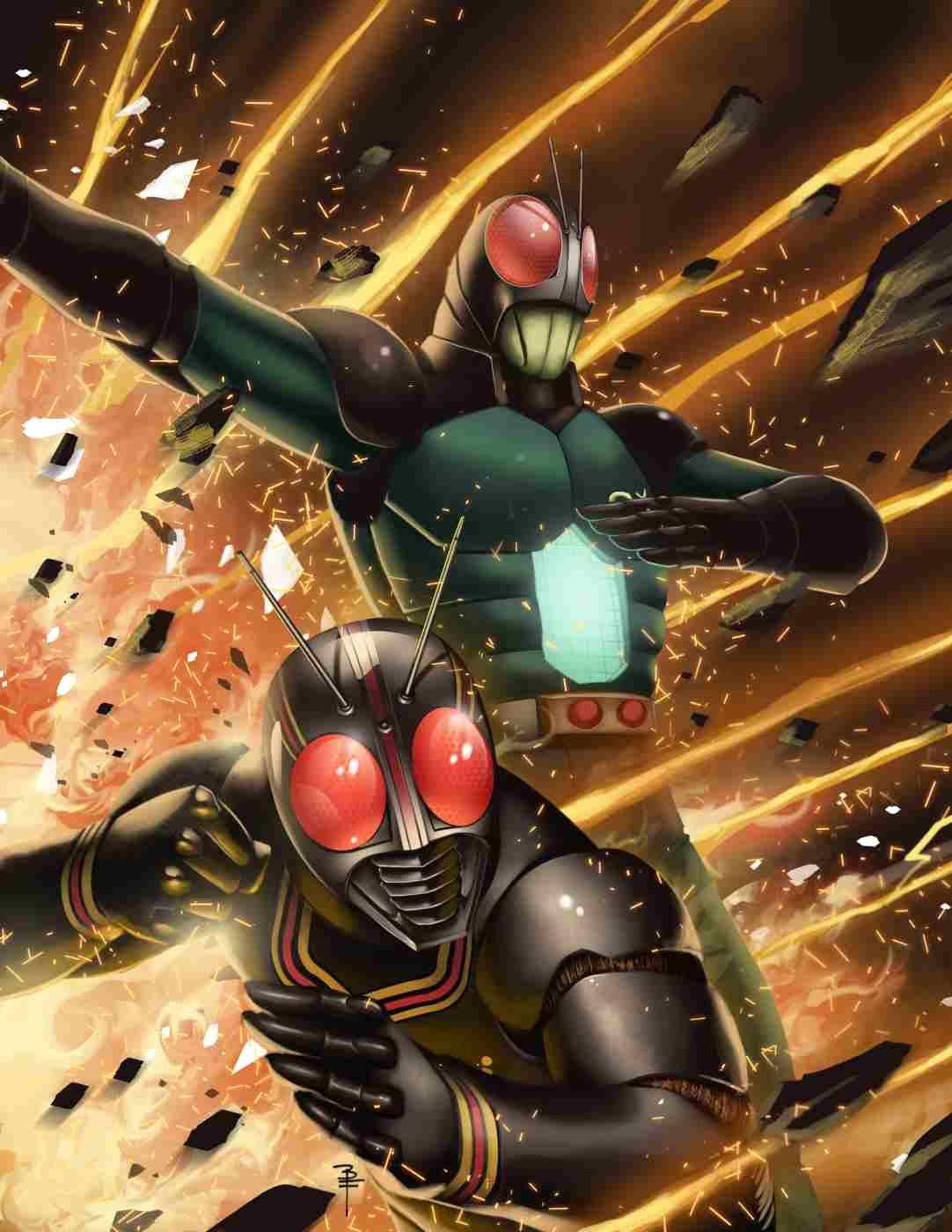 Kotaro Minami as Kamen Rider Black and Kamen Rider Black RX