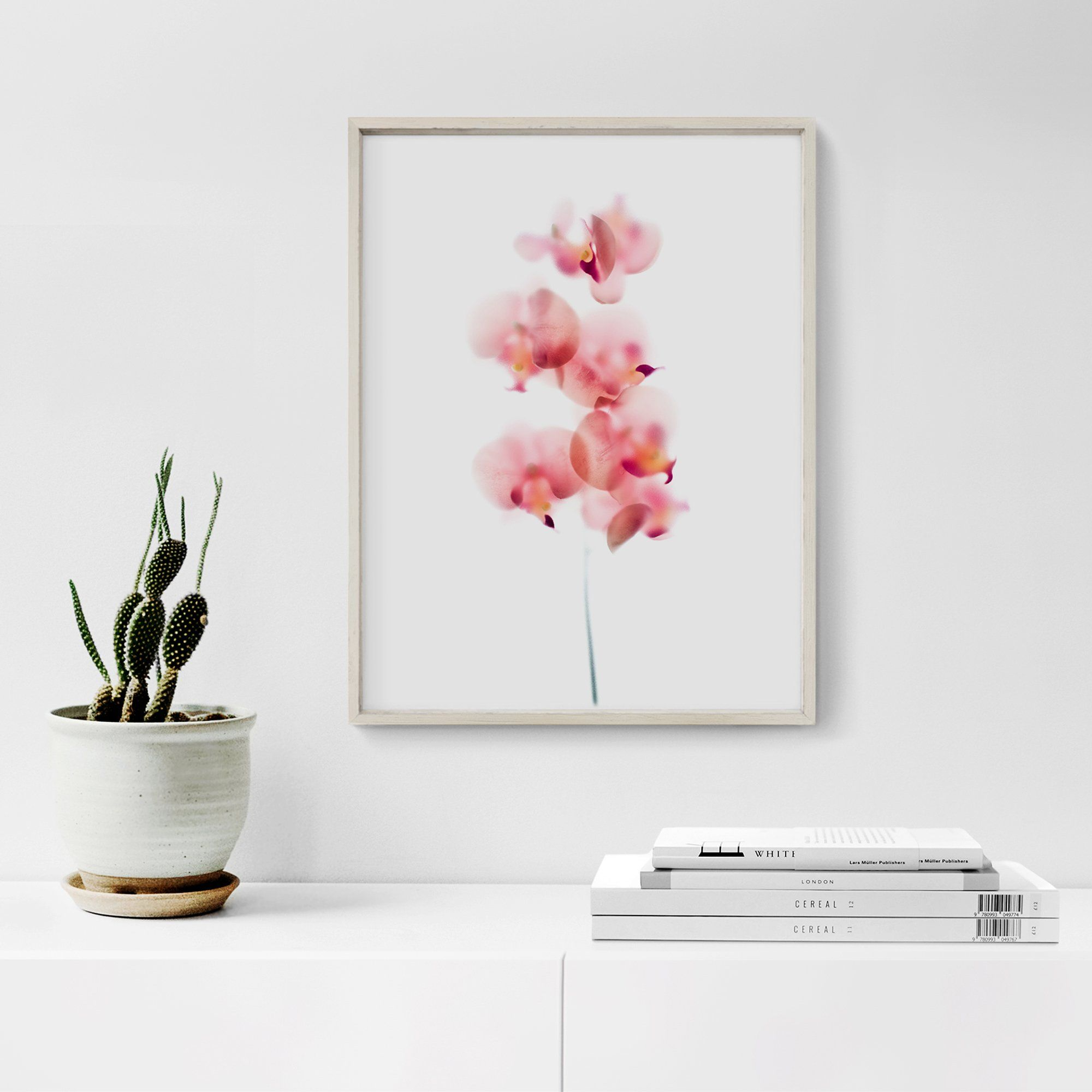 Baby Pink Orchids Floral Art Print - 8 x 10 inches