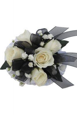 Hallu0027s Flower Shop And Garden Center   Wrist Corsage, Black And White,  $24.99 (