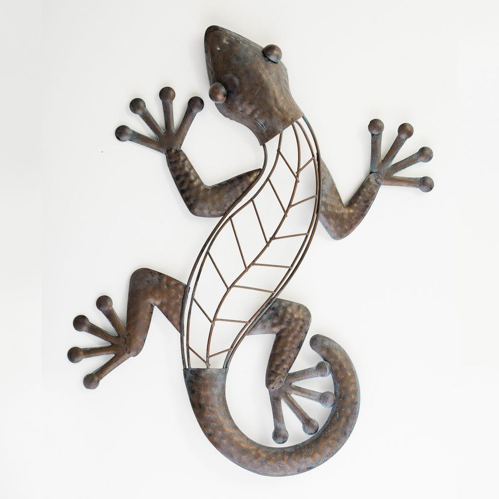 Large Metal Lizard Or Gecko Garden Or Home Wall Art Outdoor