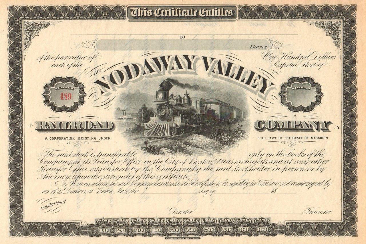 Nodaway Valley Railroad Company Stock Certificate Circa 1879