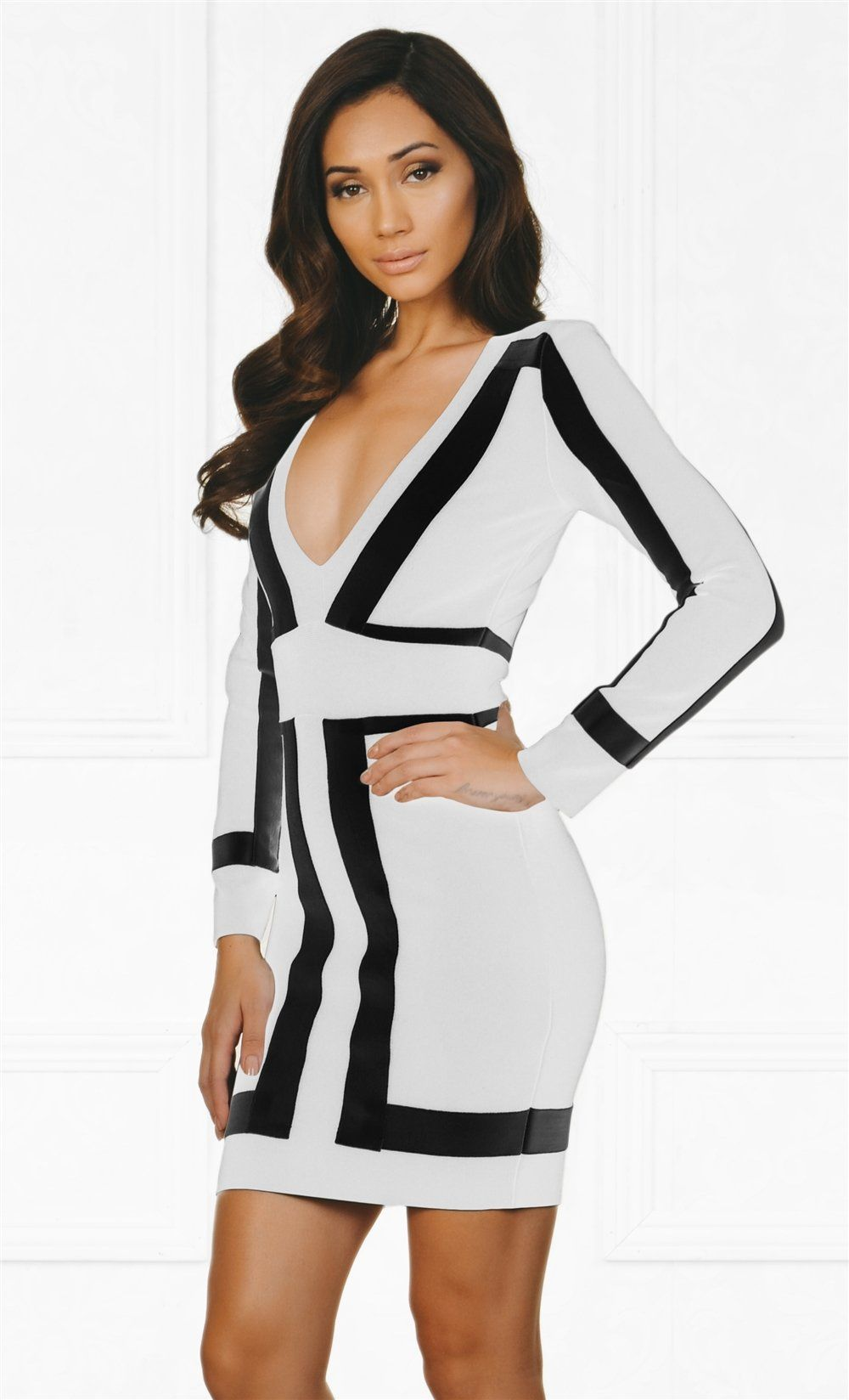 9e00f8ce7a30 Indie XO Always On Time White Black Color Block Bandage Long Sleeve Plunge  V Neck Bodycon Mini Dress - As Seen on Amrezy