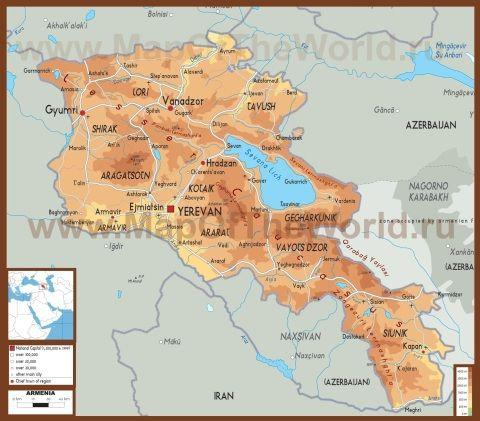 Fizicheskaya Karta Armenii Karty Maps Pinterest Armenia Map I