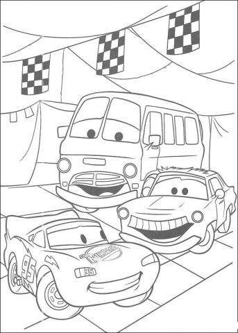 Lightning McQueen Prepares For Racing Coloring Page