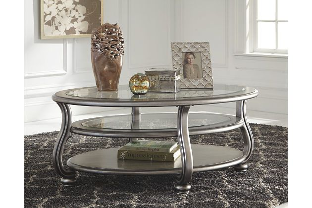 Silver Finish Coralayne Coffee Table View 3 Coffee Table Oval Coffee Tables Glam Coffee Table