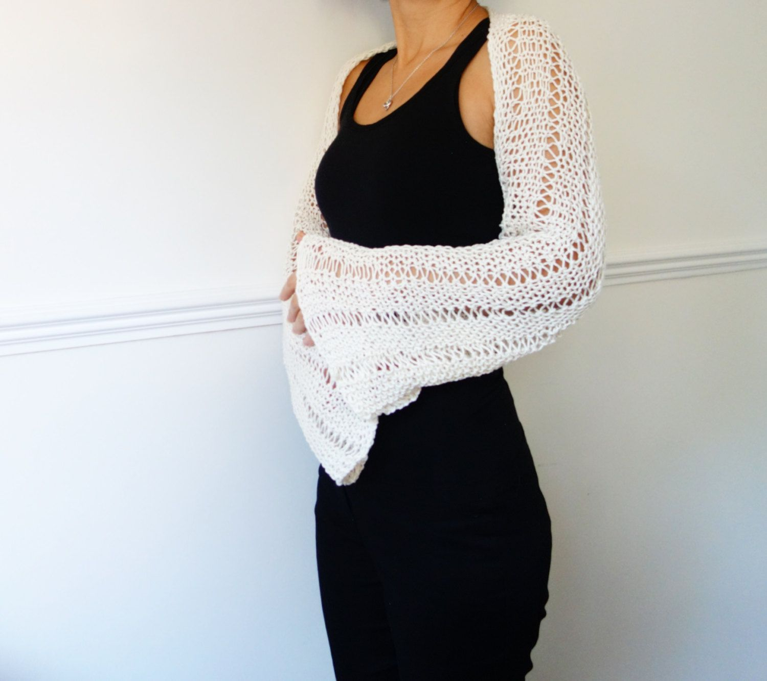 Knitting Pattern - Bell Sleeve Shrug/ Laced Hand Knit Cozy Wrap ...
