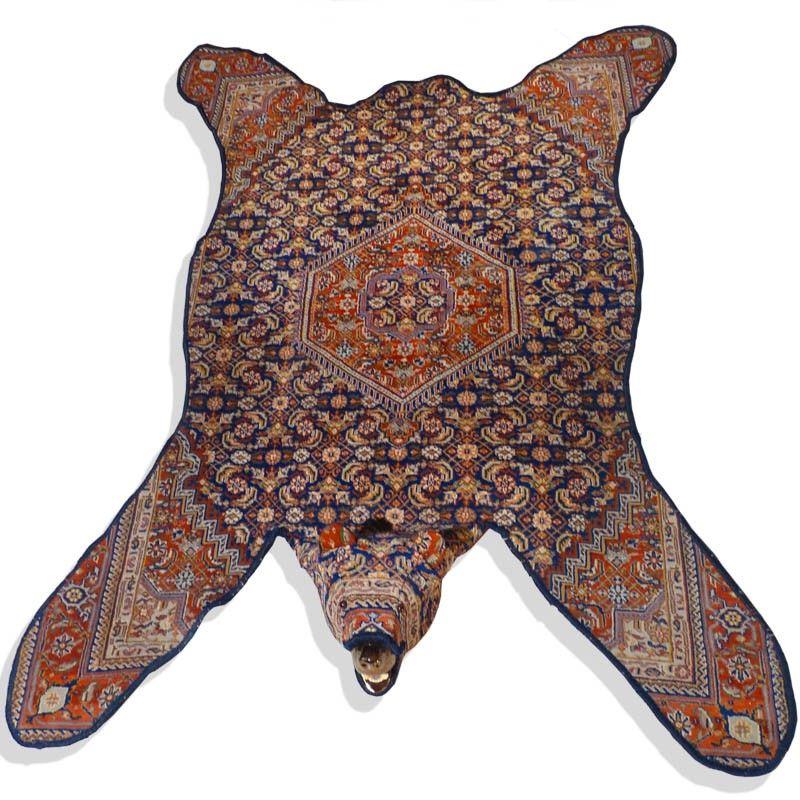 Lise Lefebvre Barenjager Bear Hunter Orange Blue Bear Rug Persian Style Rug Bear Skin Rug