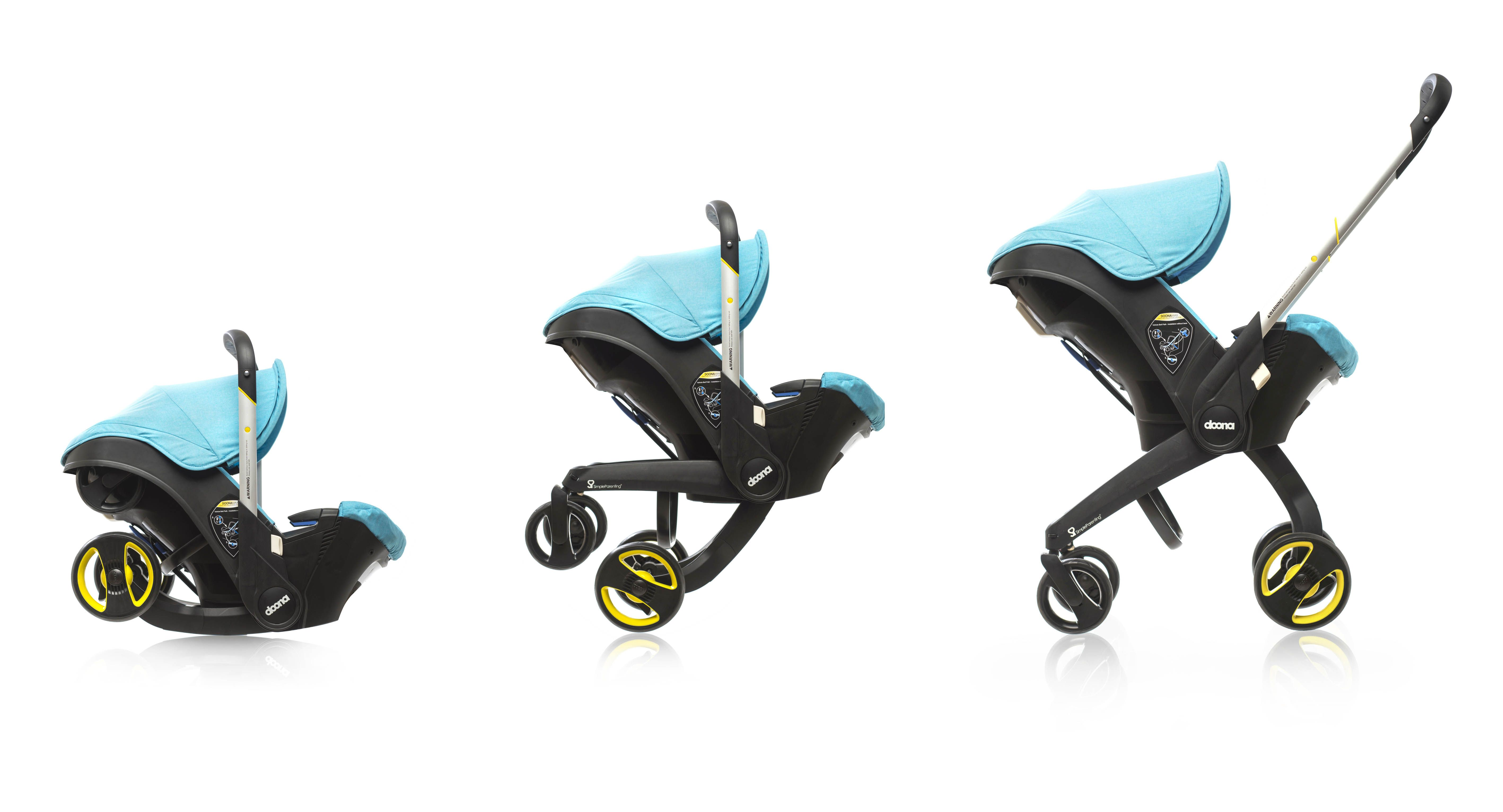 The Doona car seat unfolding into a stroller doonacarseat