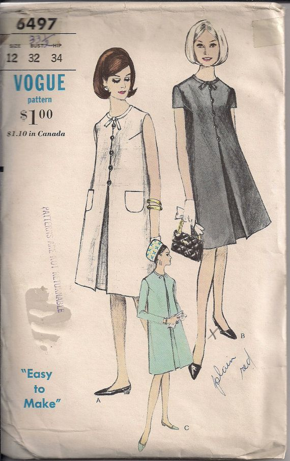 Vintage 60s Sewing Pattern MATERNITY DRESS Easy to Make by ...