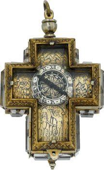 Timepieces:Pocket (pre 1900) , Etienne Bordier Brass, Silver & Rock Crystal Cross Form Verge,Mid - 18th Century. ...