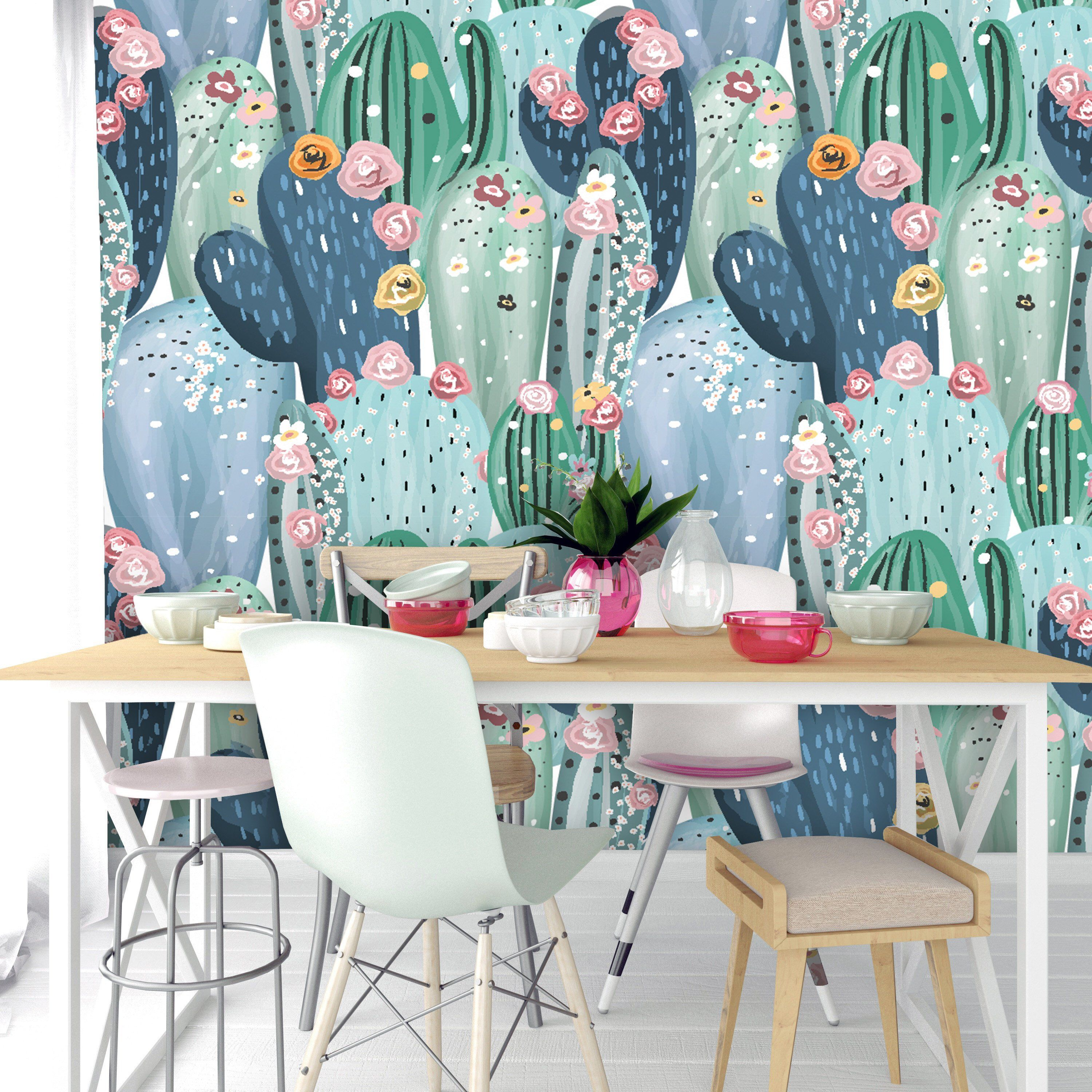 Removable Peel 'n Stick Wallpaper, Self-Adhesive Accent Wall Mural, Watercolor Tropical Pattern, Nursery Baby's Room Decor • Green Cactus #tropicalpattern
