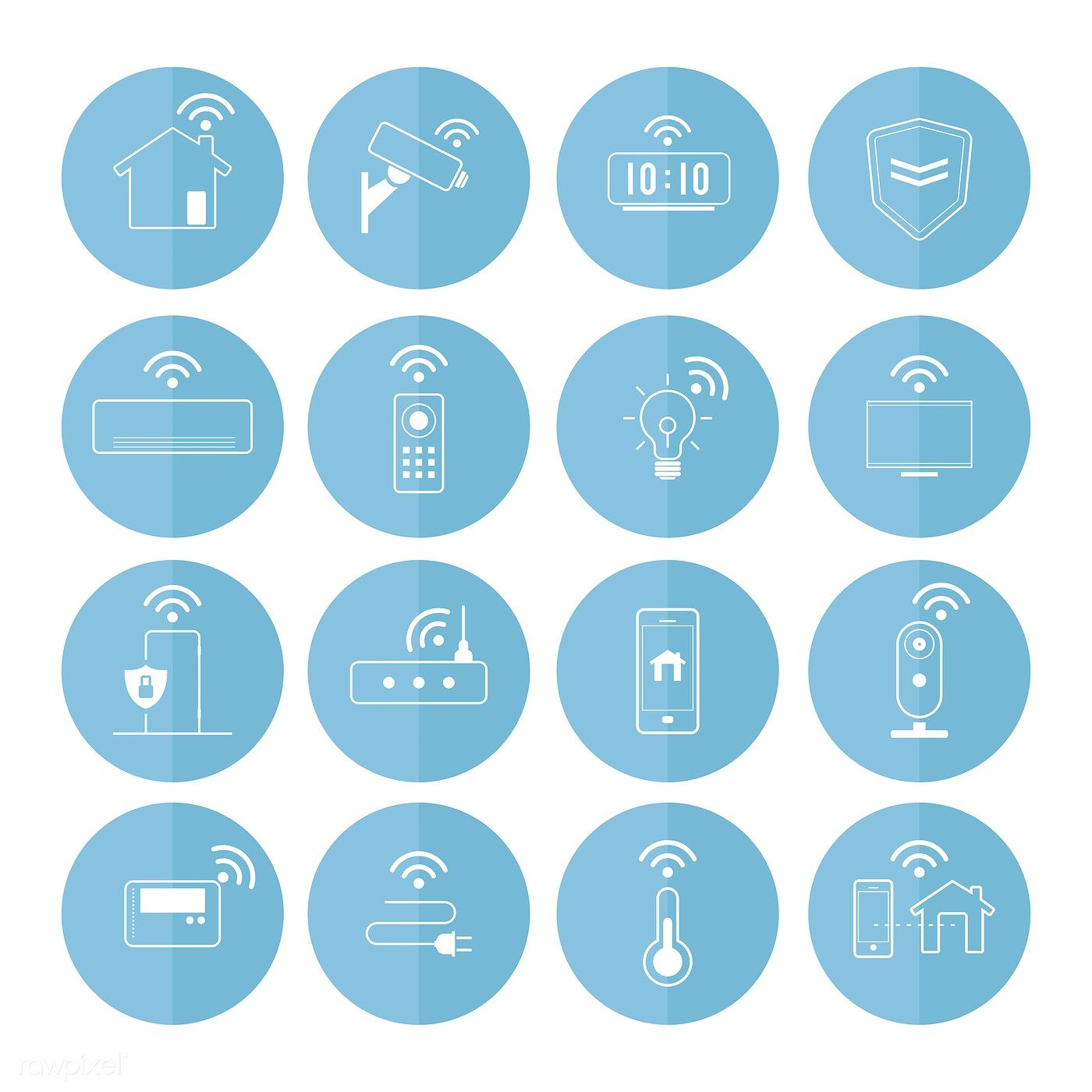 Smart home technology icon vector set free image by