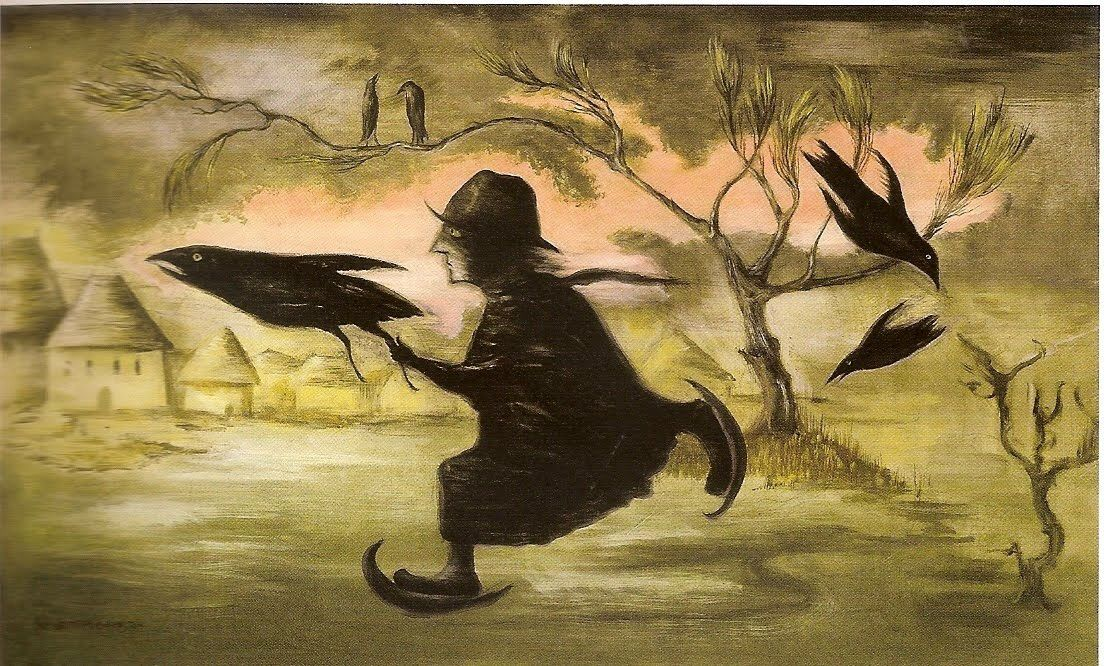 Crow catcher 1990 oil on canvas by Leonora Carrington Amazing and extraordinary artist  gallimaufry.typepad.com