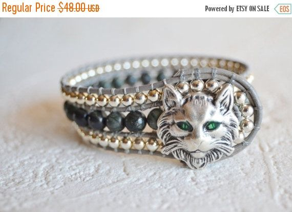 Cat Bracelet Cat Jewelry Leather Cat Bracelet by ArKaysCreations