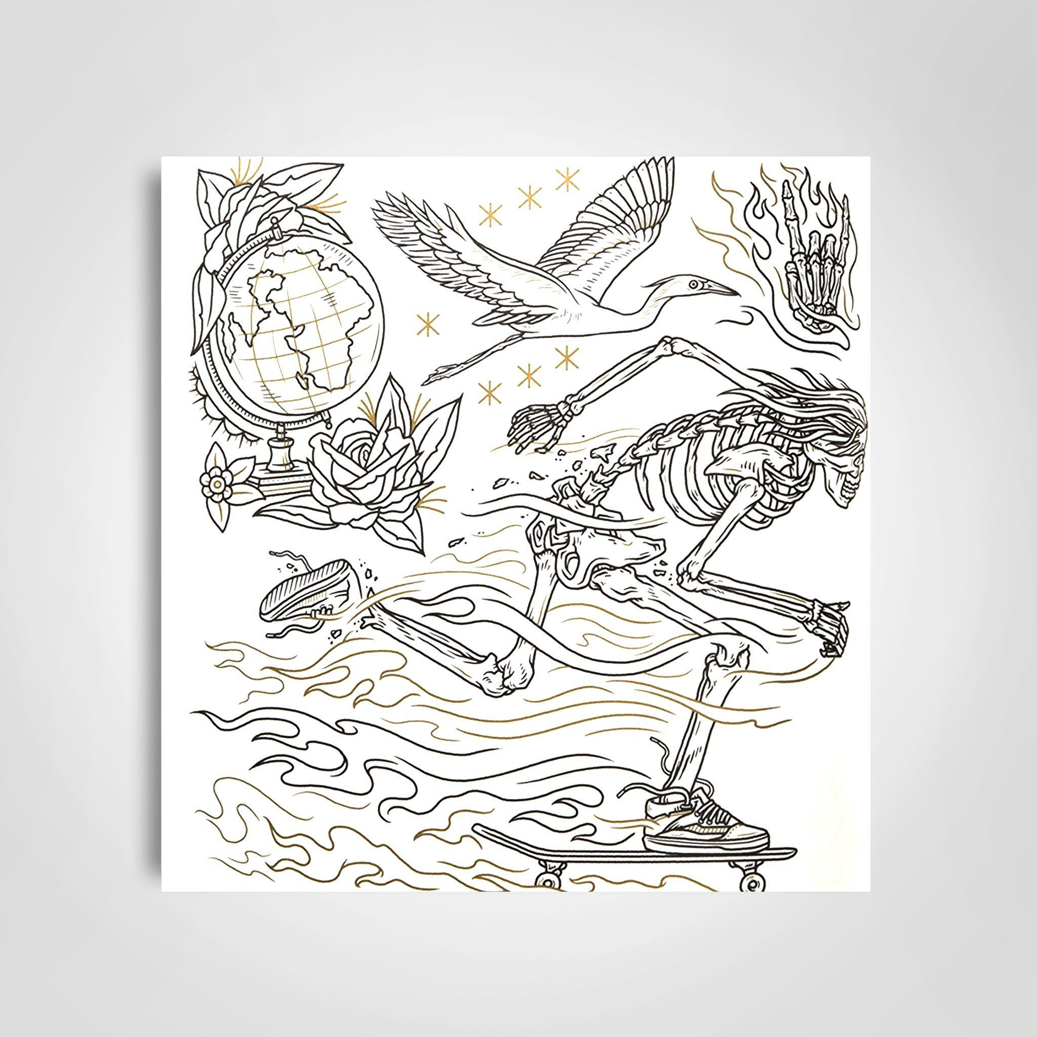 Megamunden S The Tattoo Flash Coloring Book Has 60 Pages Of Elaborate Flash Sheets Depict Themes From Ghost Tr Coloring Books Tattoo Coloring Book Flash Tattoo