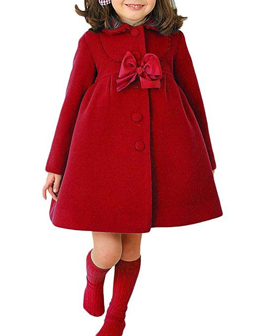 7ac26d9ab MowMee Fashion Little Girls Winter Warm Wool Bowknot Trench Coat Red ...