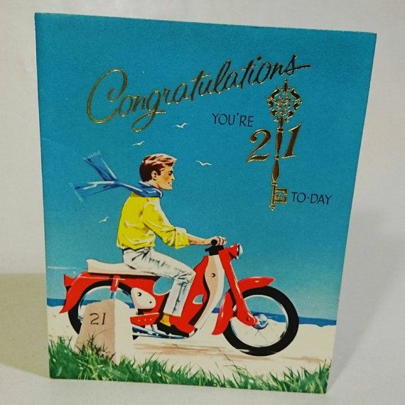 Vintage 21st Birthday Card 1950s Unused Send Collectable Greetings Happy For Him Hipster Brother Male Friend