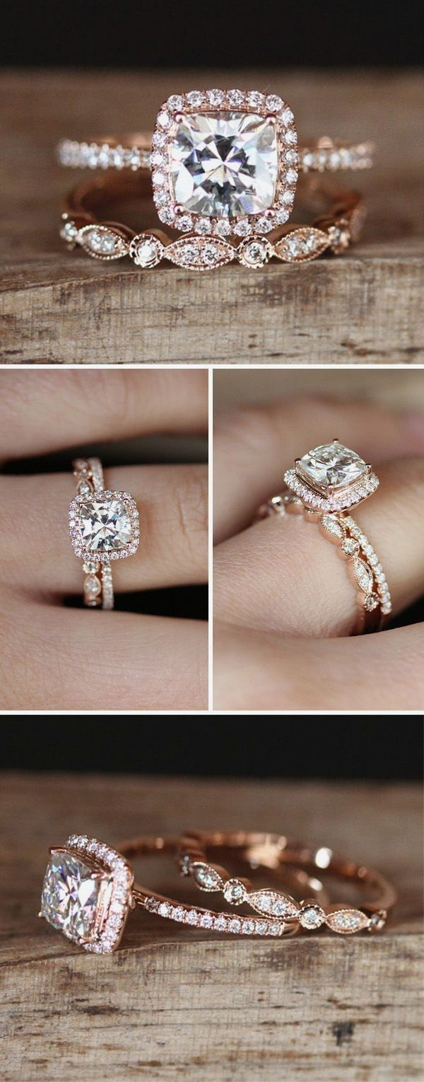 Rose Gold Engagement Wedding Ring Set Weddingring Wedding Rings Unique Wedding Rings Vintage Wedding Ring Sets