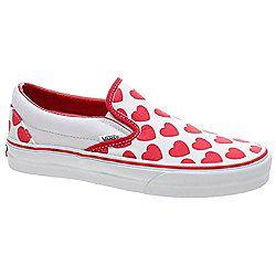 9ecddc1a9cf2 Vans Classic Slip On (Big Hearts) True White Red Shoe 58598