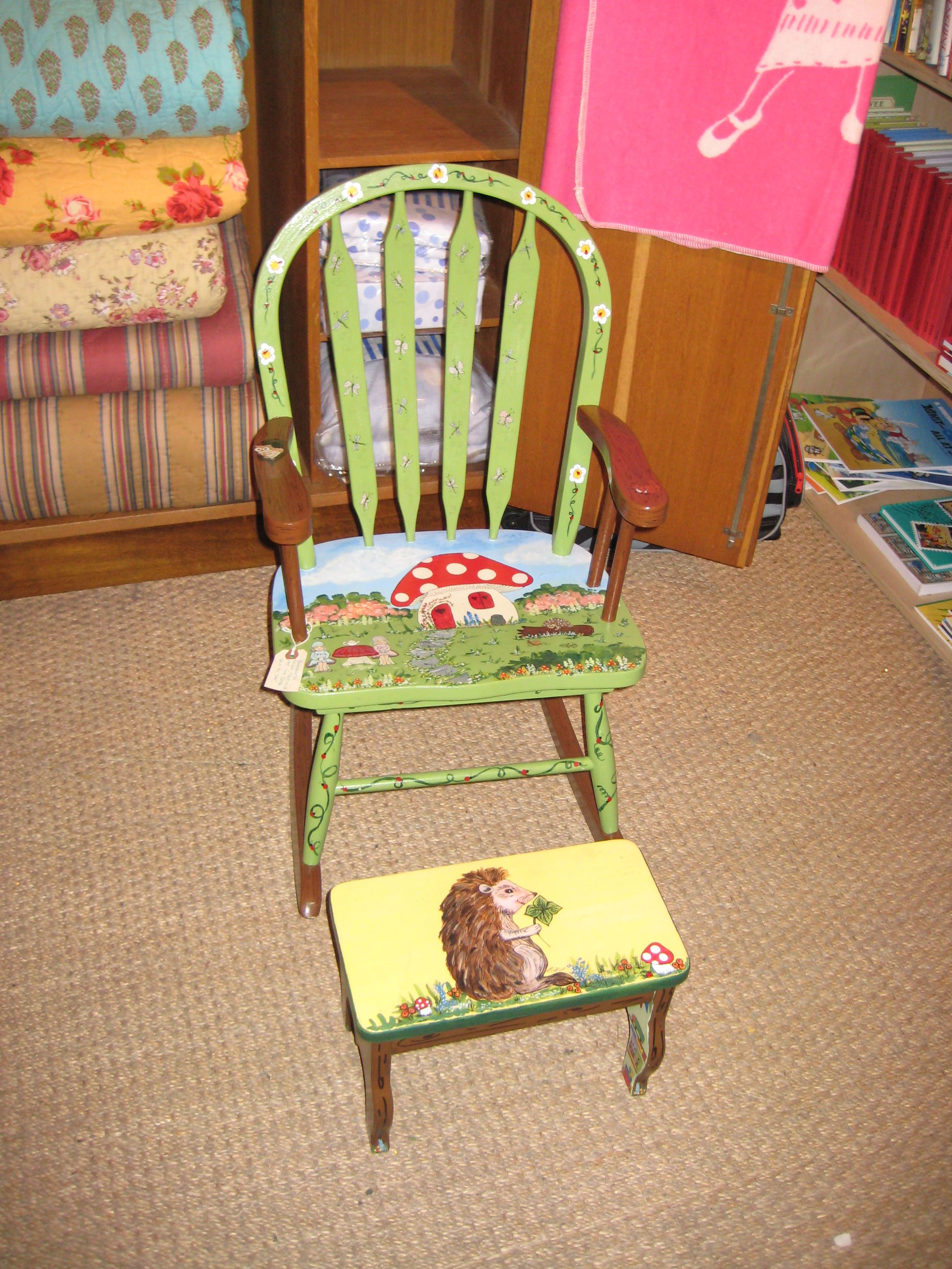 Rocking Chair And Step Stool I Painted For Clover Toys