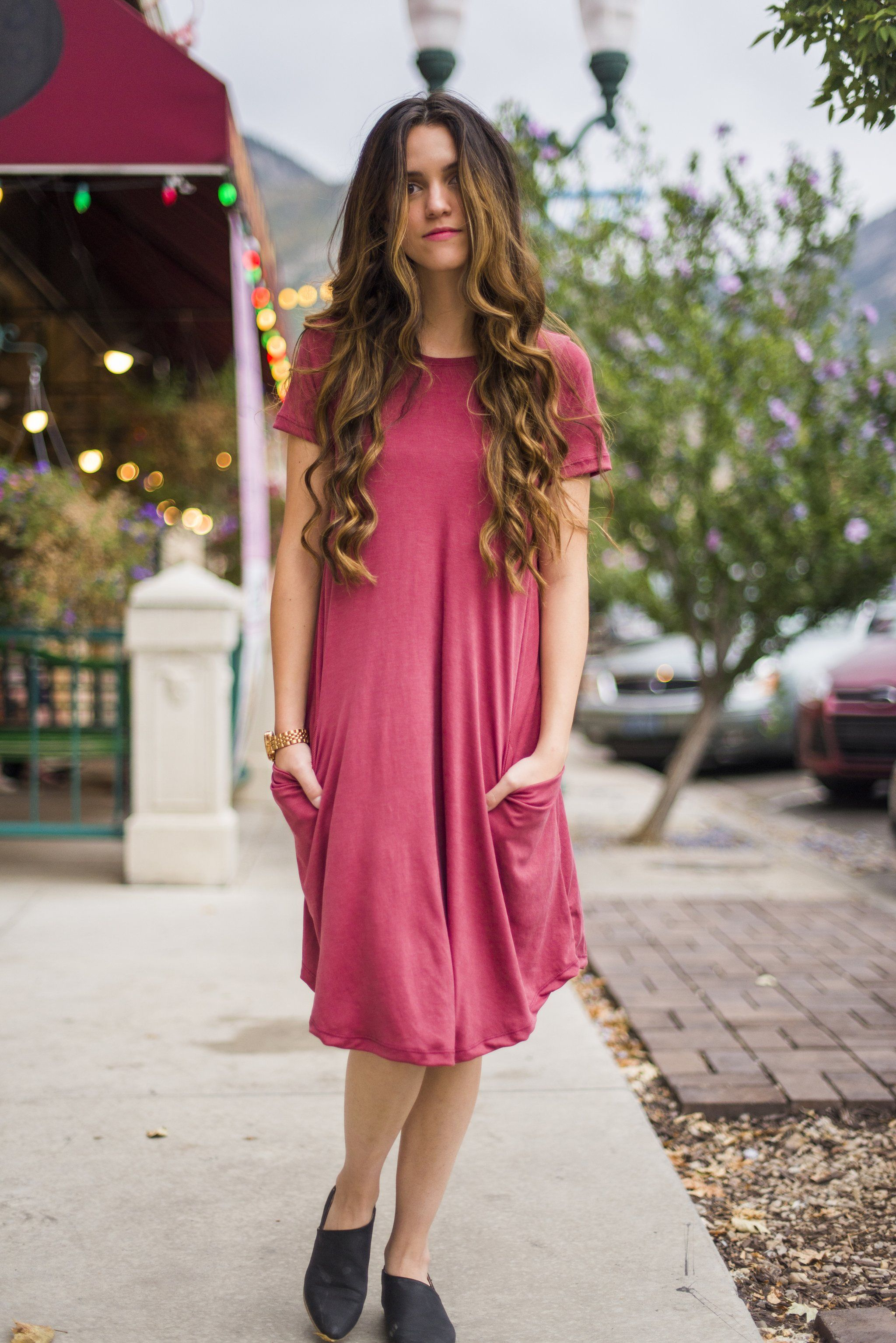 e170fa91c040 Rusty Coral Distressed Ribbed April Dress | Denim & Navy Fashion | Modest  Clothing for