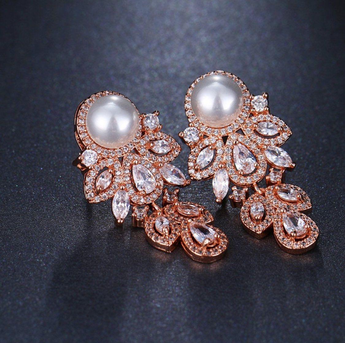 Pair Pearl Leaf Dangle Drops GOLD Wedding Gauges tunnels Plugs earring 8g 6g 4g 2g 0g 00g 716 12 3mm 4mm 5mm 6mm 8mm 10mm 11mm 12mm