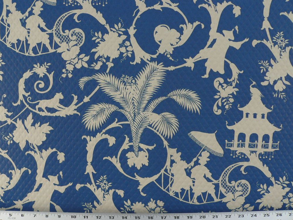 Drapery Upholstery Fabric Indoor / Outdoor Asian Design Matelassé   Dark  Blue