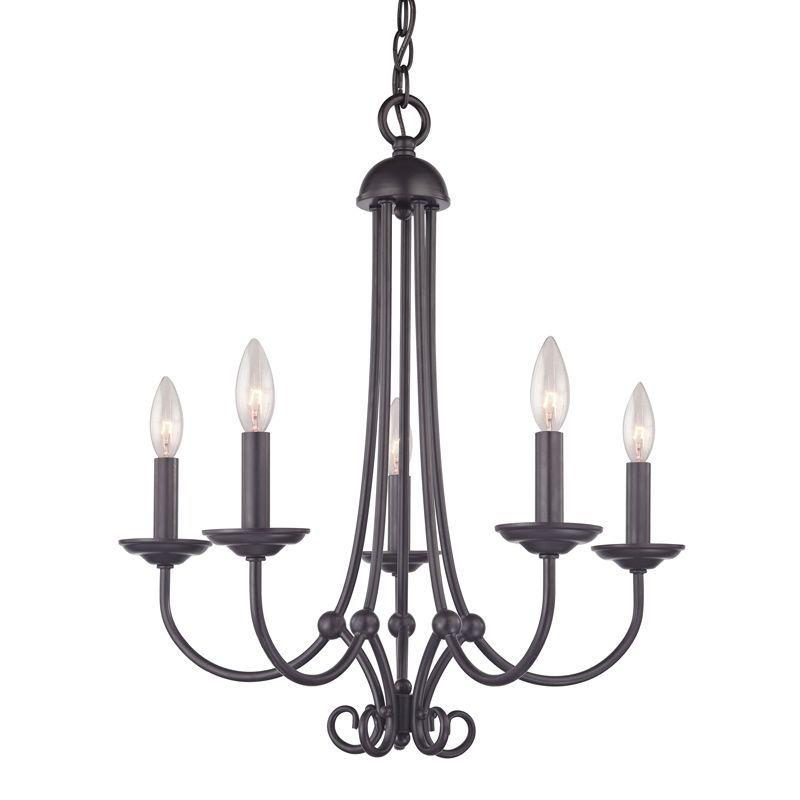 Cornerstone Lighting 1505CH Williamsport 5 Light 1 Tier Candle Style Chandelier Oil Rubbed Bronze Indoor Lighting Chandeliers