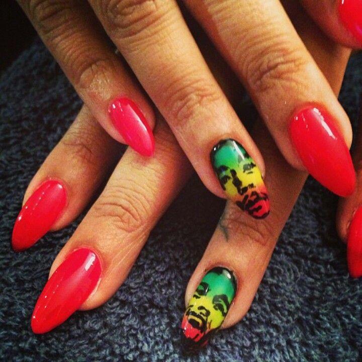 Colorful Bob Marley Nails Elaboration - Nail Art Design Ideas ...
