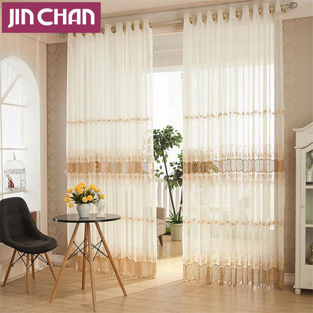 Flower Embroidered Fabric Cotton Window Voile Tulle Sheer Curtains ...