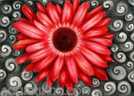 Red Gerbera Daisy Art Flower Magnet Colored Pencil By Aquariann