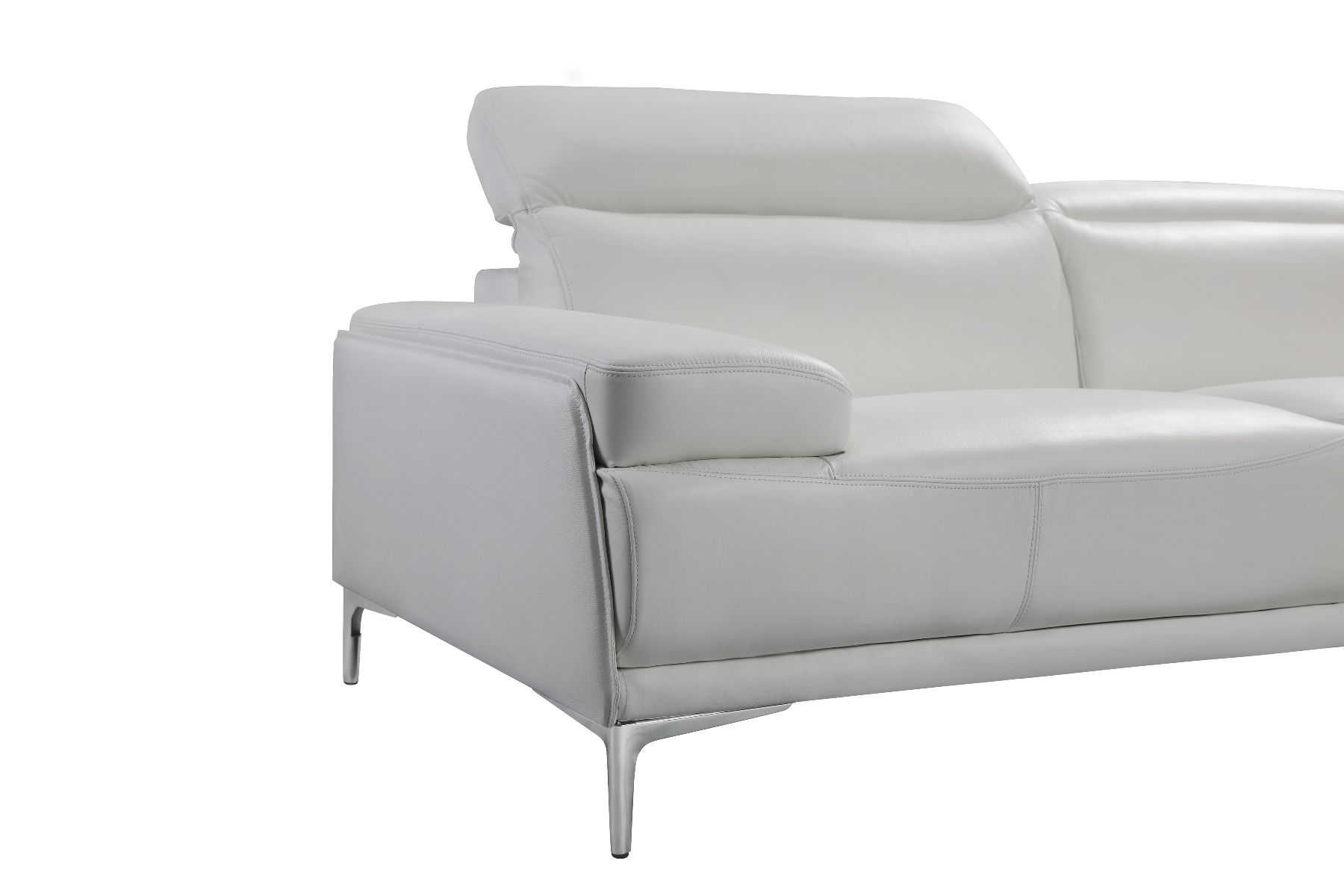 J M Nicolo White Modern Stylish Adjustable Headrest Leather Sofa In 2020 White Leather Sofas Leather Sofa Set Leather Sofa