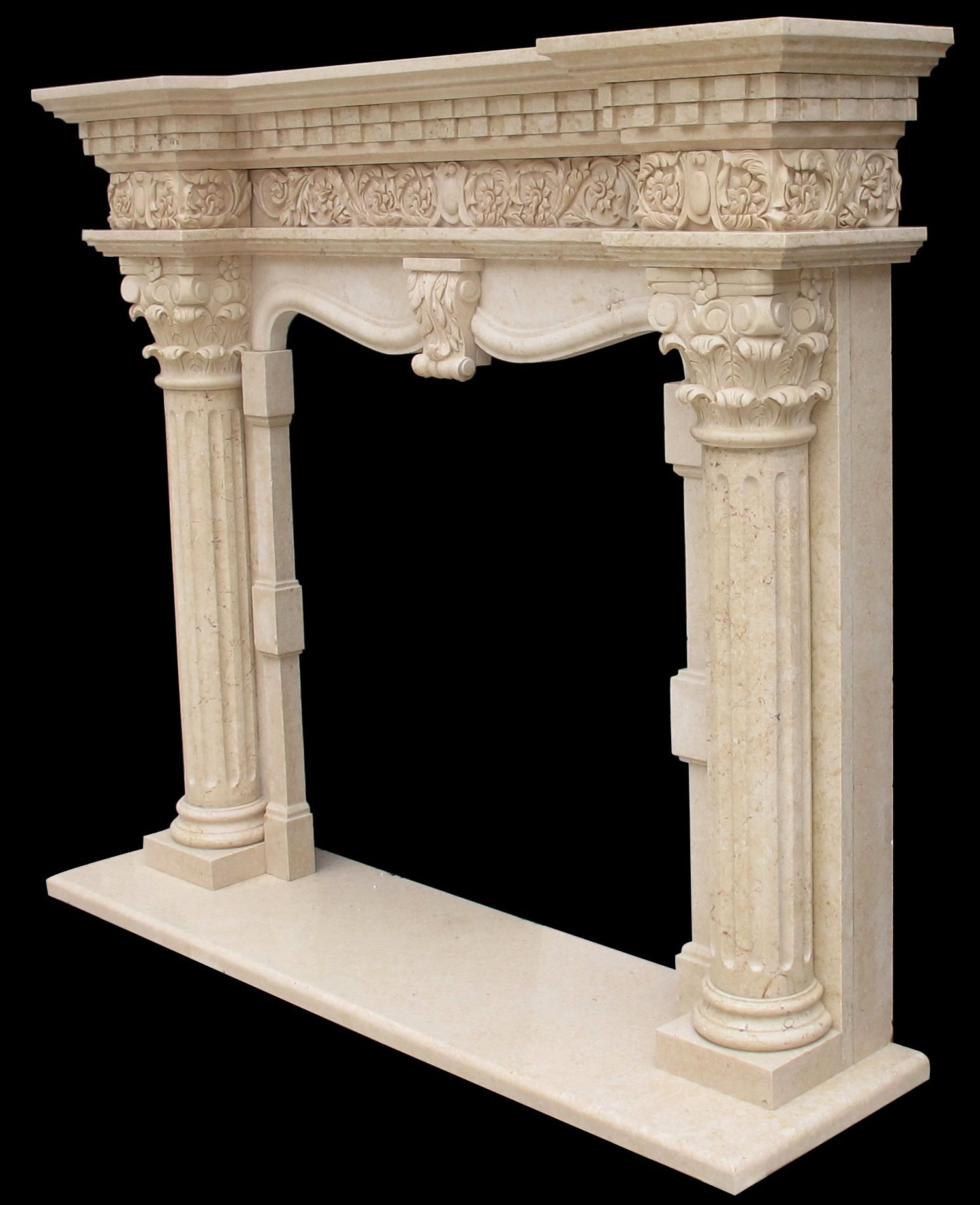 Grand Richmond Marble Column Fireplace Kraft Installation Surround Picture Of A Great Idea For Living Room