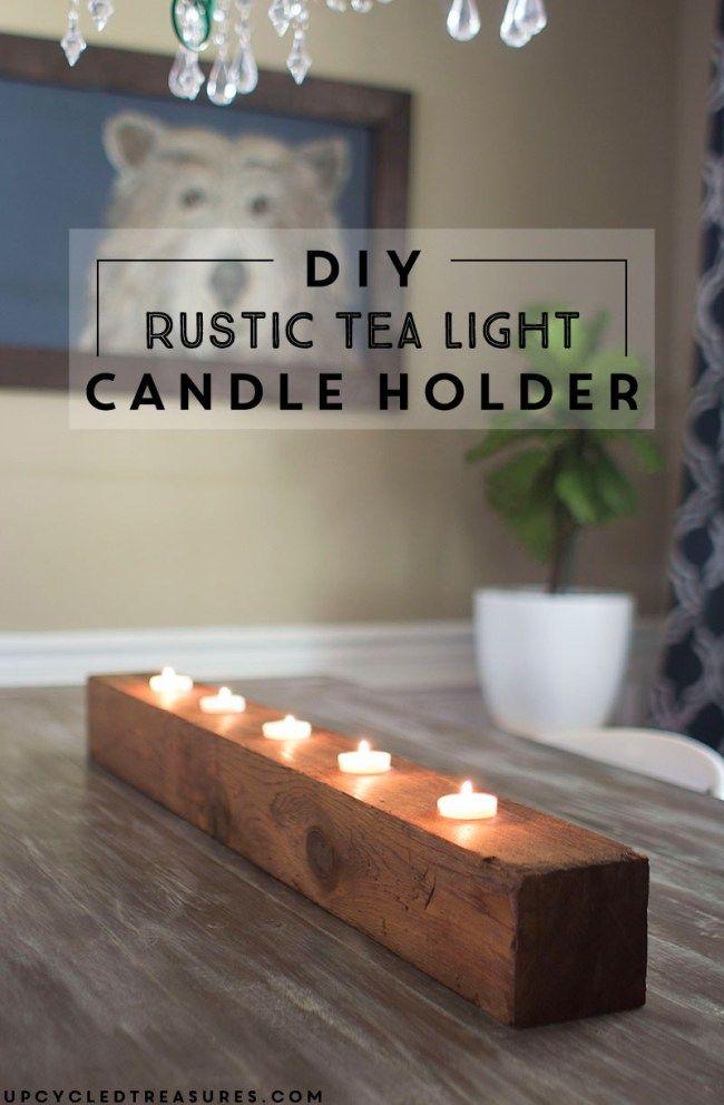 diy rustic tea light candle holder diy project ideas diy candles diy candles design candles. Black Bedroom Furniture Sets. Home Design Ideas