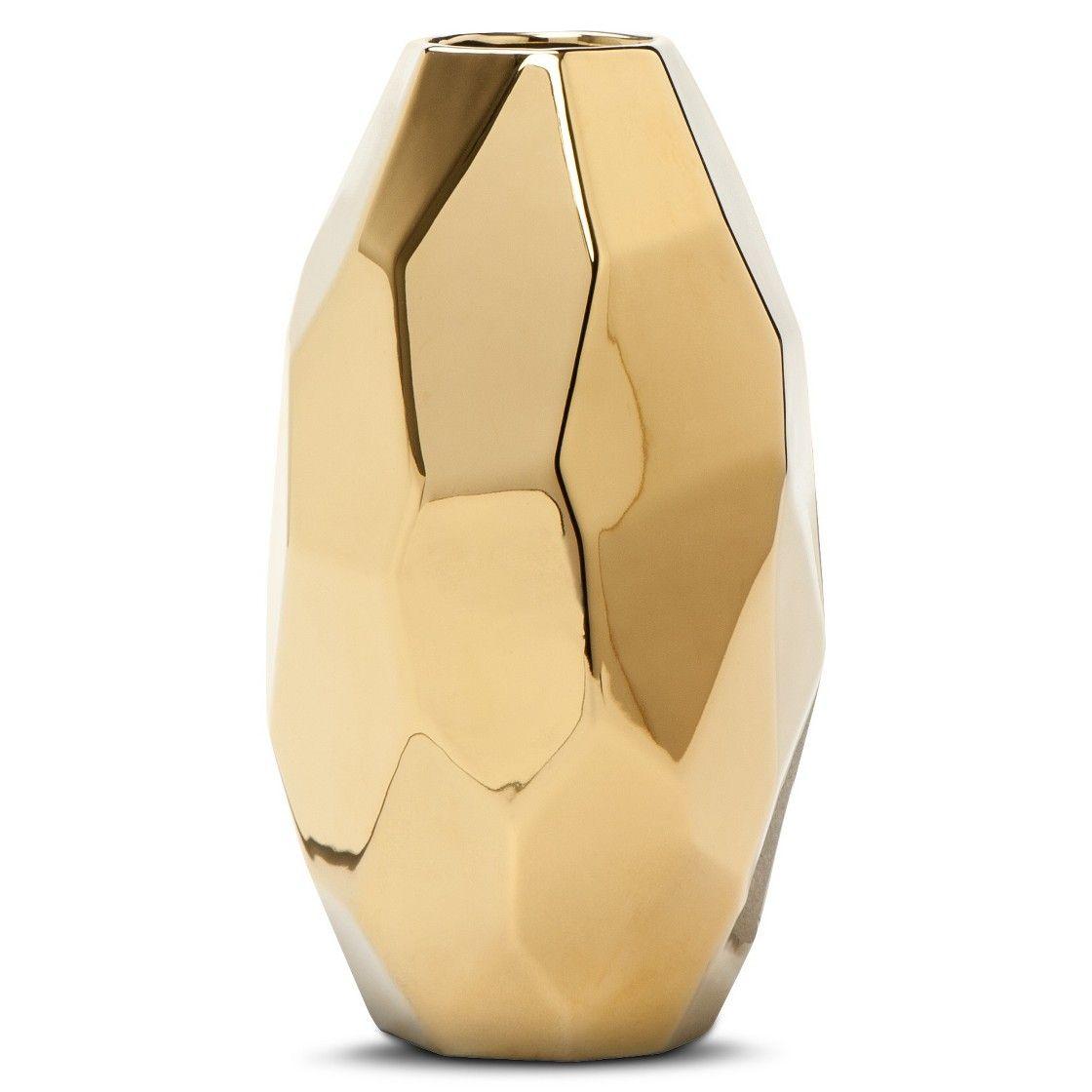 Nate Berkus Gold Facet Vase 7.8\