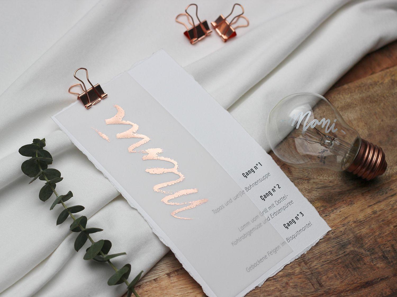 Hochzeitspapeterie – Menükarte mit Transparentpapier und Roségold #weddingmenuideas