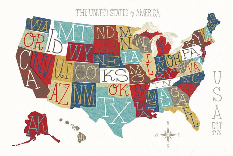State Abbreviations on colorful backgrounds  The United States of