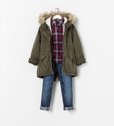 compras los Angeles cliente primero Parka, checked shirt & rolled jeans w/ floral hem - Zara ...